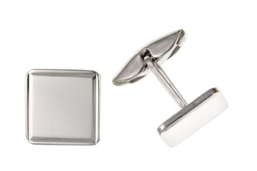 Square Sterling Silver Plain Edged Square Cufflinks